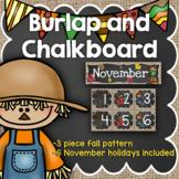 November Calendar: Burlap and Chalkboard