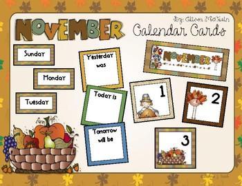 November Calendar Cards