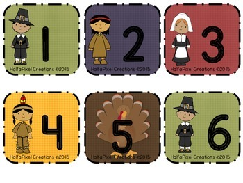 November Calendar Cards ABCDE Pattern {Pilgrim Native American Turkey}