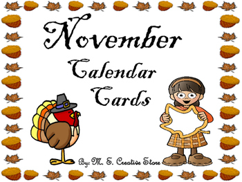 November Calendar Cards (English and Spanish)
