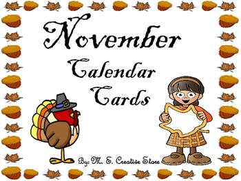 November Calendar Cards (English and Spanish)