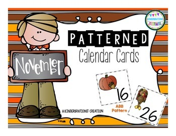November Patterned Calendar Cards- Melonheadz Style