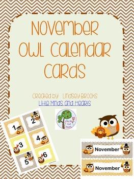 November Owl Calendar Cards and Headers