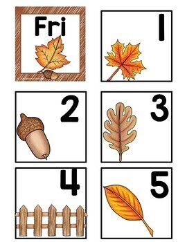 November Calendar Cards and Numbers