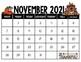 November Calendar Center Task Cards