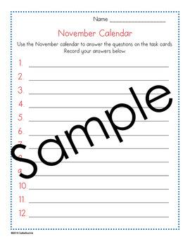November Calendar Center Task Cards - Calendar Activity