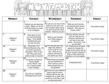 November Calendar Editable Journal Prompts