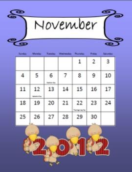 November Calendar - Freebie