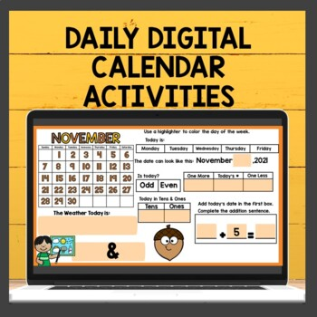 November Math Meeting Calendar Journal Activities