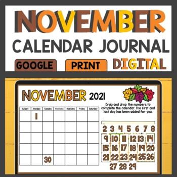 November Math Meeting Calendar Journal Activities