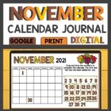 November Calendar Journal