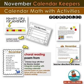 November Calendar Keepers -Patterns-  Math Stations - [Literacy Pages]