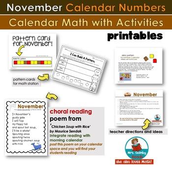 Calendar Keepers for November   Calendar Math   [Literacy Pages]