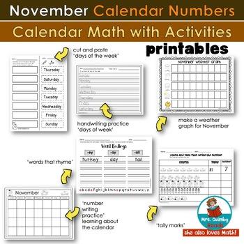 Calendar Number Cards for November | Calendar Math | [Literacy Pages]