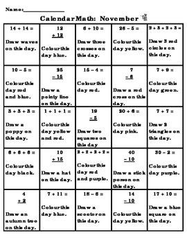 November Calendar Math