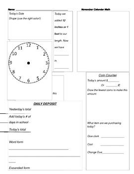 November Calendar Math 3rd Grade
