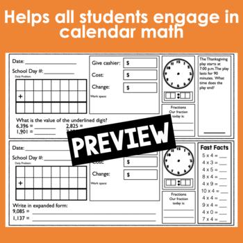 November Calendar Math Student Journal- 4th Grade Edition