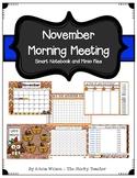 November Calendar Math and Morning Meeting for Smartboard