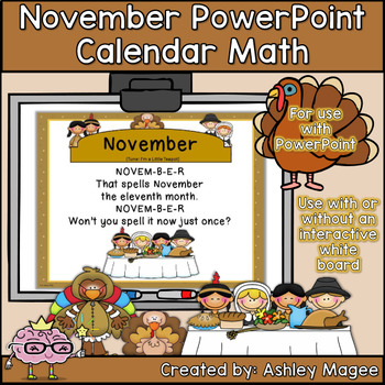 November Calendar Math - in PowerPoint - use with or witho