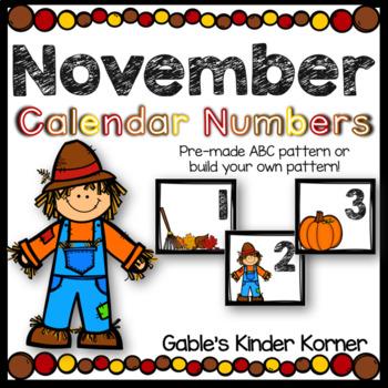 November Calendar Number Set