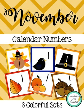 November Calendar Numbers (6 sets)