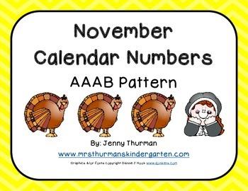November Calendar Numbers AAAB Pattern