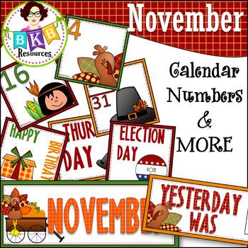 November Calendar Numbers ● Morning Math ● AB Patterns ●Da
