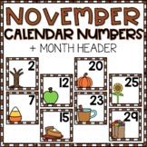 November Calendar Numbers for Pocket Chart Cards
