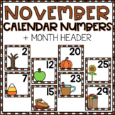 November Calendar Numbers for Pocket Chart Cards