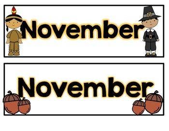 November Calendar Pieces