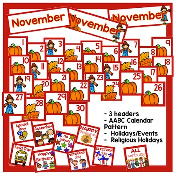 November Calendar Pieces - White Set