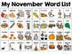 November Calendar Pieces & Word Wall--Thanksgiving, Fall, Veterans Day