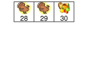 November Calendar Pieces in a-a-b pattern