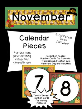 November Calendar Pieces to Use with Your Classroom Calendar