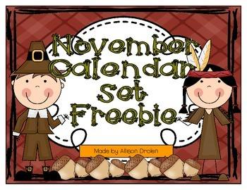 November Calendar Set Freebie