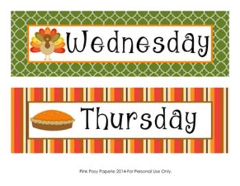 November Calendar Set - Numbers - Days of the Week