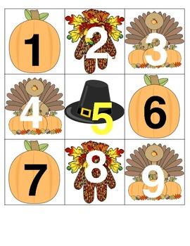 November Calendar Squares and Math Center Pieces