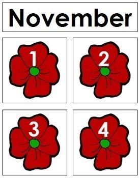 November Calendar Tags