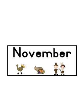November Calendar - Thanksgiving