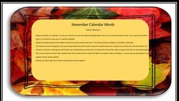 November Calendar Words