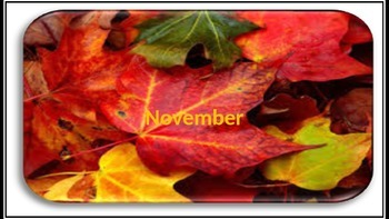 November Calendar & Daily Vocabulary