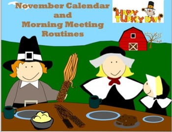 November Calendar and Morning Routines for Smartboard