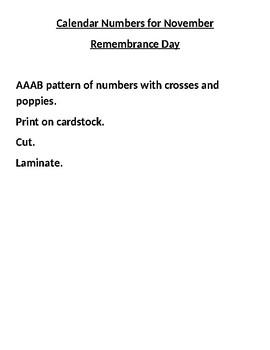 November Calendar for Remembrance Day