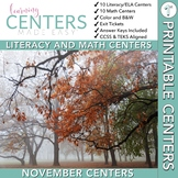 November Centers — First Grade Math and ELA
