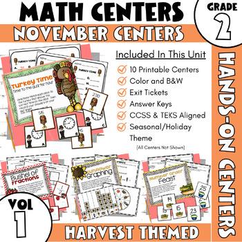 November Centers: Second Grade MATH ONLY