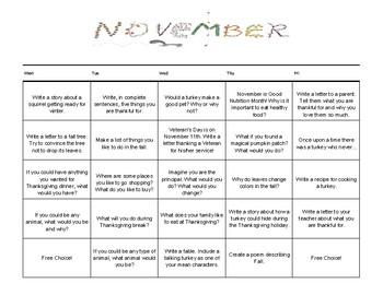 November Choice Writing Calendar