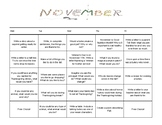 November Choice Writing Calendar