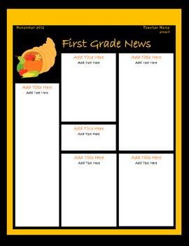 November Classroom Newsletter Template