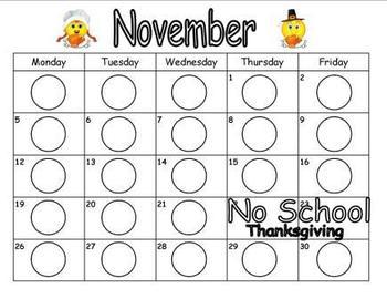 November Clip Chart Recording Page
