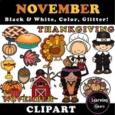 November Clipart - Black & White, Color, Glitter!
